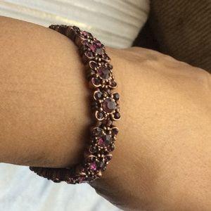 Metal elastic bracelet purple rhinestones.($6x3)